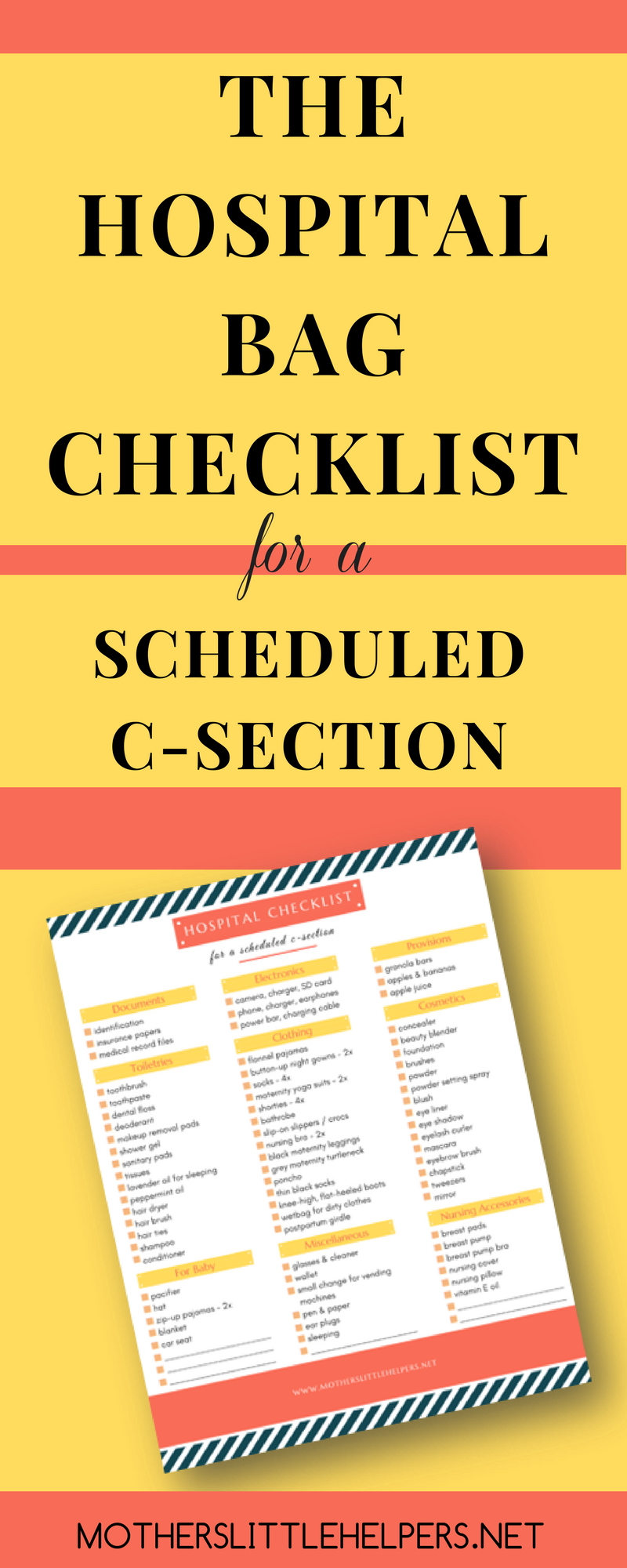 Are you having a scheduled c-section and aren't sure what you'll be needing after the operation? Check out my FREE Hospital Bag Checklist and get extra tips & ideas for your hospital stay!
