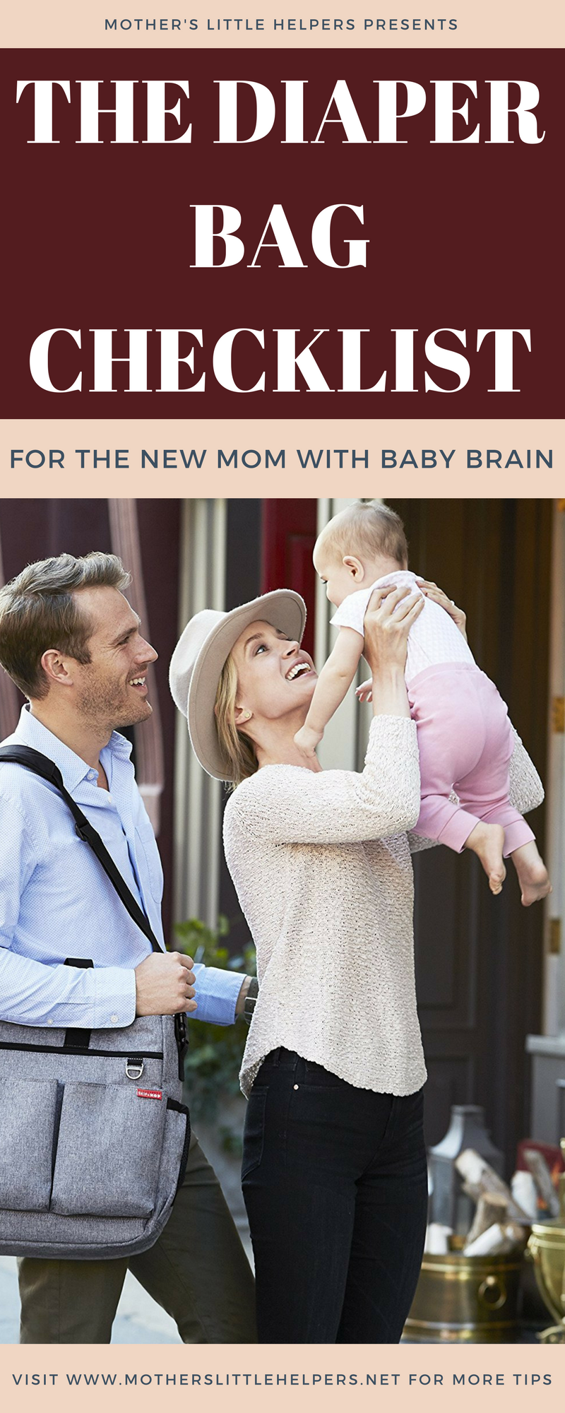 """Rest your mind at ease by using """"The Diaper Bag Checklist for the New Mom with Baby Brain"""" so that you and your baby never leave the house unprepared! 