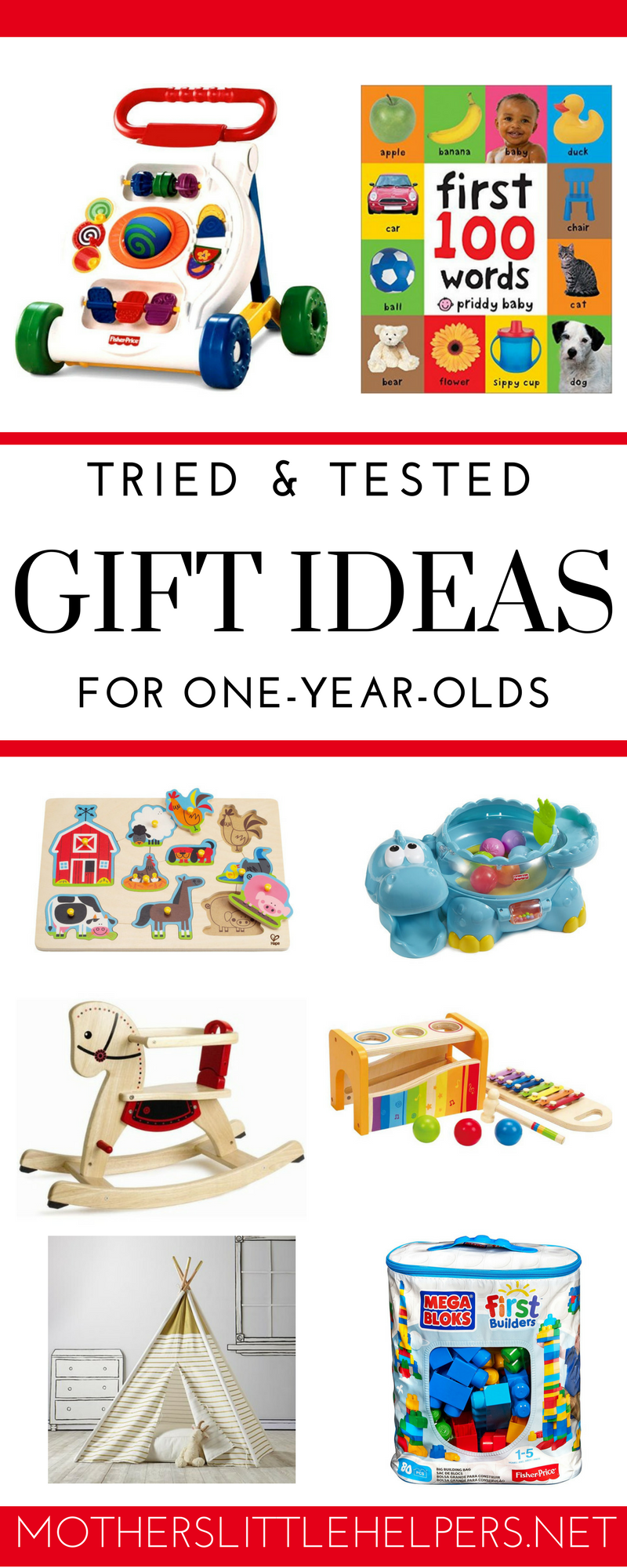 GIFT IDEAS FOR 1 YEAR OLD BABIES – Wondering what to gift a 1 year old? Check out these one year baby gift ideas. Find the best gift for one year old that will last a long time and still be played with over a year later. They also make perfect Christmas, birthday and Easter presents. motherslittlehelpers.net #giftguide #giftsfor1yearold #babygifts #giftsforbaby #babytoys #oneyearoldtoys