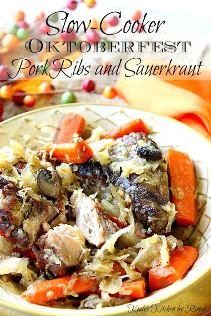This easy Slow-Cooker Pork Ribs and Sauerkraut recipe makes for a hearty and healthy Sunday dinner that your family will love via Kudos Kitchen by Renee