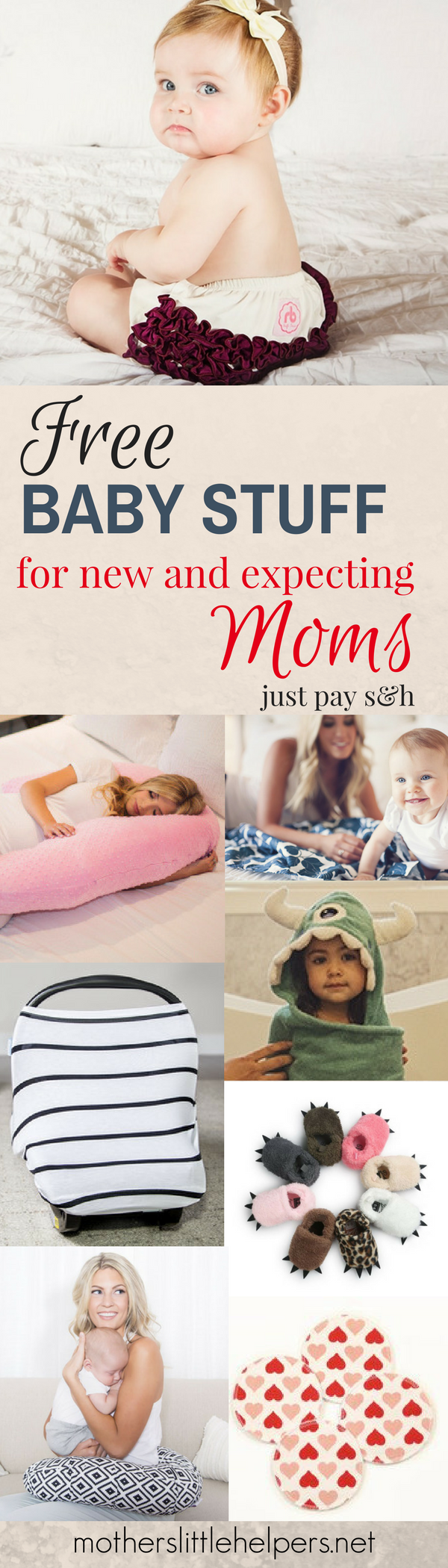 HOW TO GET FREE BABY STUFF – click here to find out how to get you and your baby some really awesome newborn baby stuff. You can get everything from free baby shoes to free hooded towels and even a really high-quality free car seat canopy! Grab your FREE STUFF FOR NEW MOMS now! motherslittlehelpers.net #freebabystuff #babygear #babyfreebies