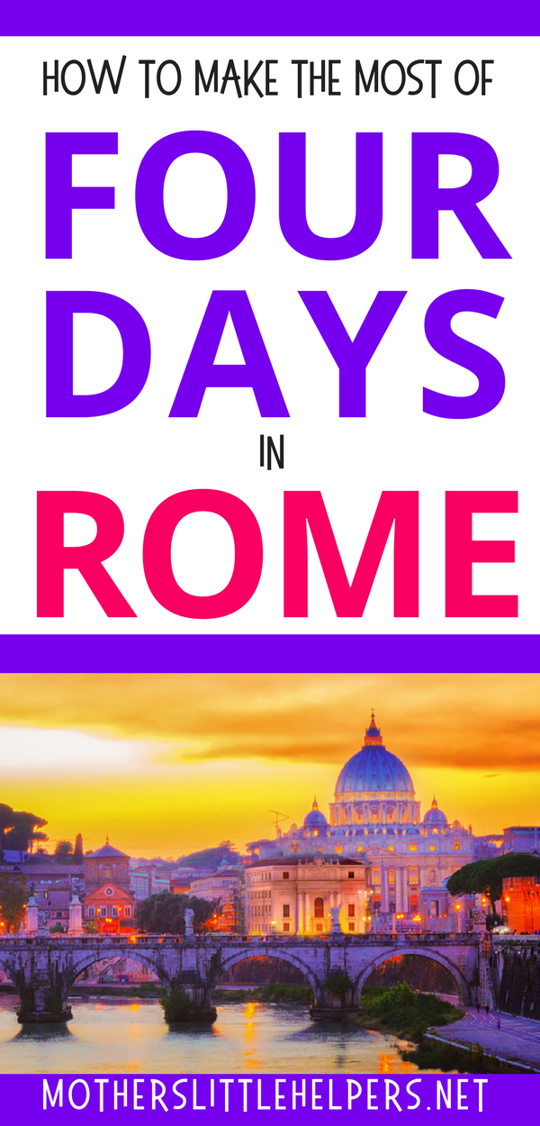 ROME WALKING TOURS – looking for the best way to see Rome?  Check out this four days in rome suggested itinerary and you'll be sure not to miss a thing.  These individual tours of Rome are also perfect if you're only 3 days in rome or searching for weekend in rome itinerary, rome four day itinerary, itinerary for two days in rome, or even five days in rome itinerary.  Motherslittlehelpers.net #romeitinerary #rometour #walkingtour #citytrip