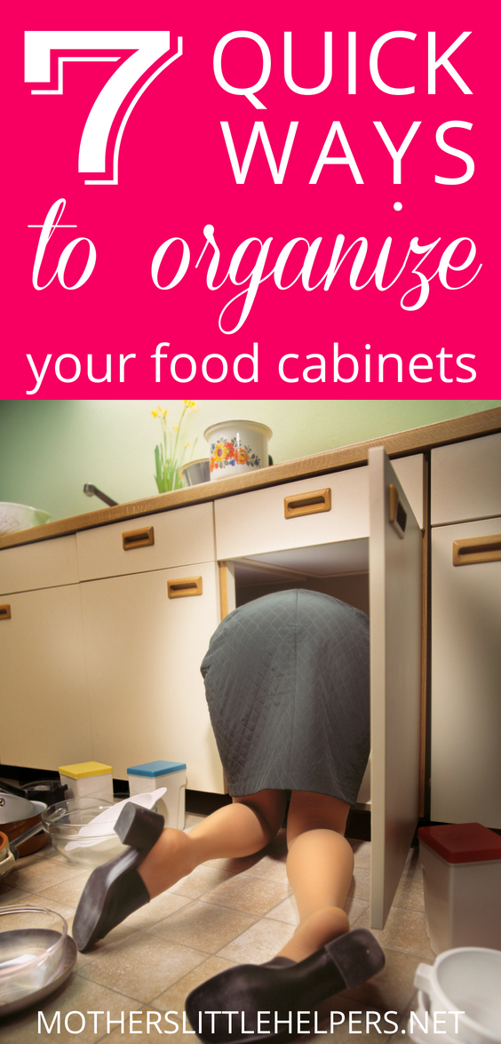 WAYS TO ORGANIZE FOOD CABINETS - Check out these food storage ideas to help you find the best way to organize your food cabinets, drawers, and pantry. Motherslittlehelpers.net #foodstorage #organization #kitchenorganization