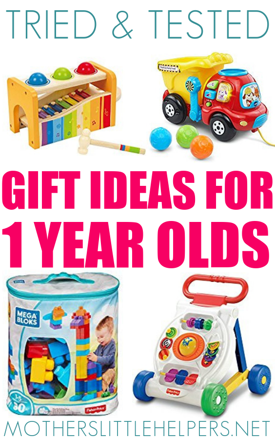 GIFT IDEAS FOR 1 YEAR OLD – wondering what to gift a 1 year old? Look no further! Whether the occasion is Christmas, Easter or baby's first birthday, here you'll find the best gift one year old babies will love. These gift ideas are my one year old twins birthday gifts and are some are still being played with 1.5 years later. BEST GIFT FOR ONE YEAR OLD BABY Motherslittlehelpers.net #babytoys #babygift #babygear #HappyBirthday #MerryChristmas #giftguide #giftsfor1yearold #babygifts